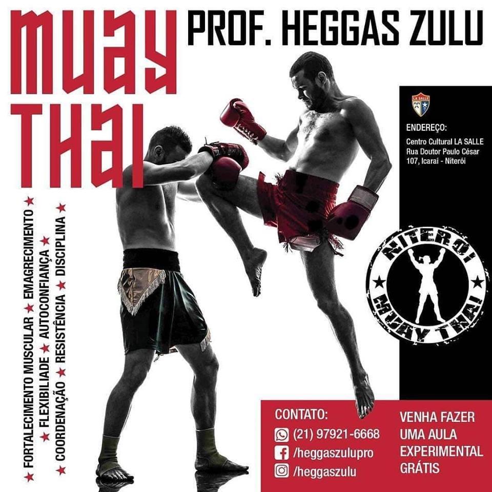 Divulgação para aulas de Muay Thai do professor Heggas Zulu