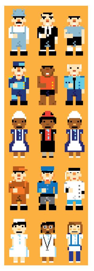 Personagens em pixel art